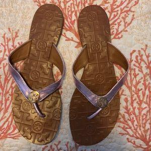 Tory Burch metallic lavender flip flops
